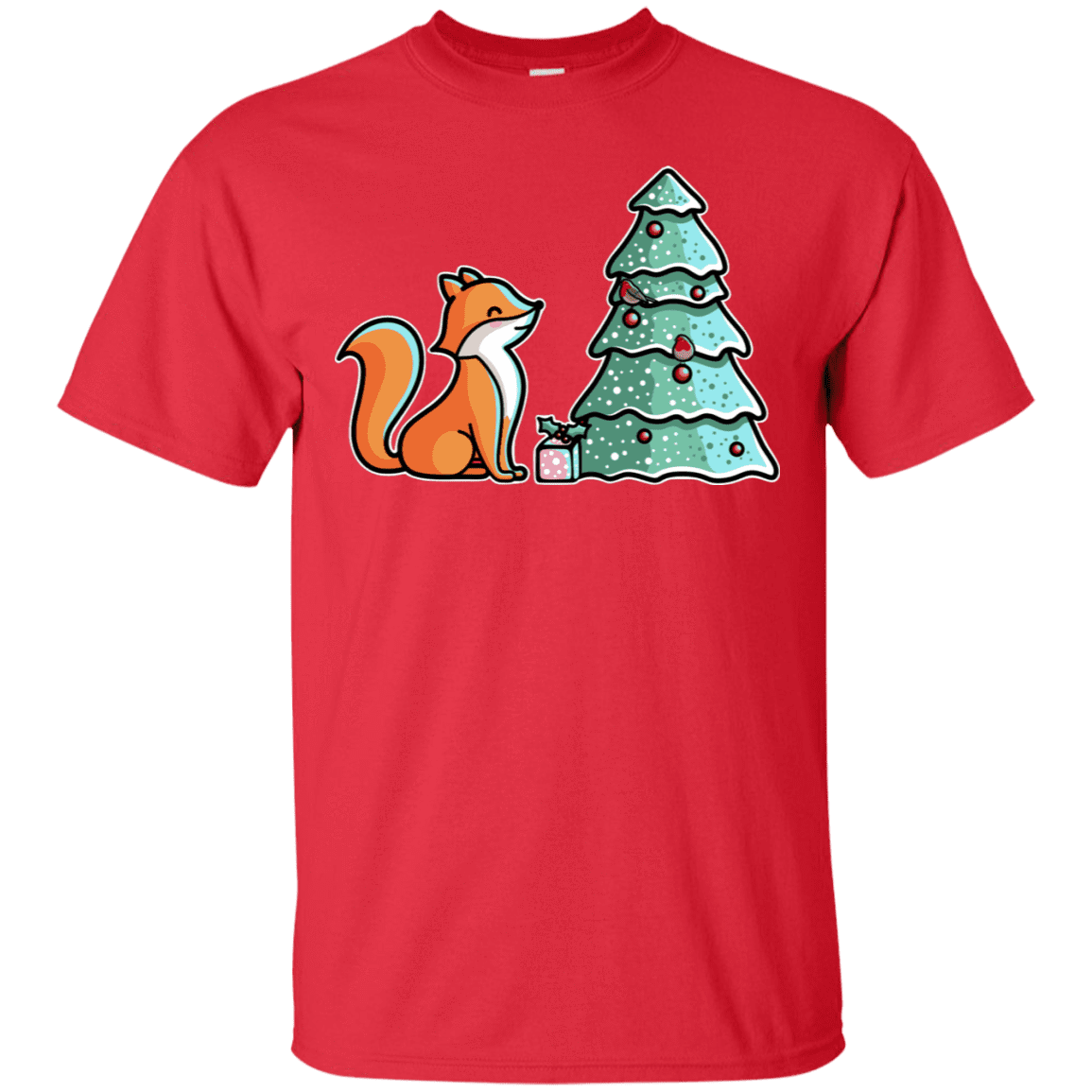 T-Shirts Red / S Kawaii Cute Christmas Fox T-Shirt