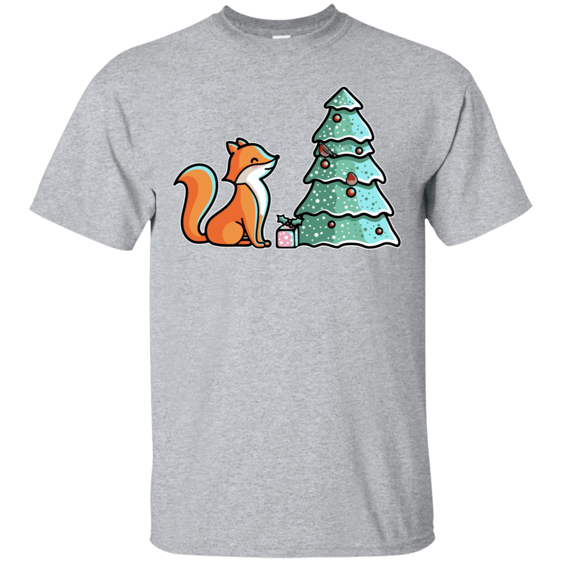 T-Shirts Sport Grey / S Kawaii Cute Christmas Fox T-Shirt