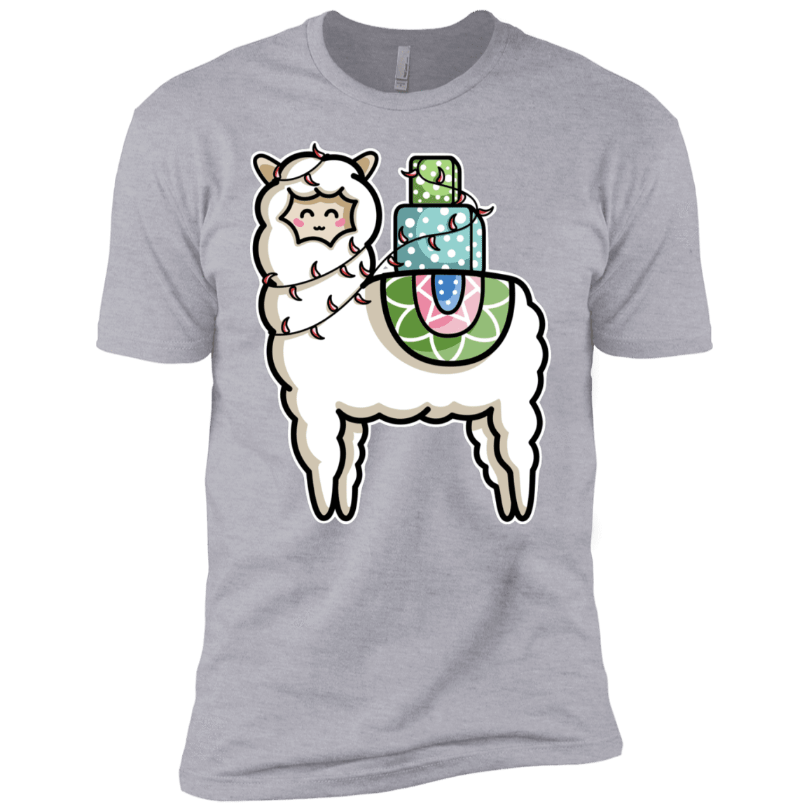 T-Shirts Heather Grey / YXS Kawaii Cute Llama Carrying Presents Boys Premium T-Shirt