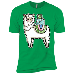 T-Shirts Kelly Green / YXS Kawaii Cute Llama Carrying Presents Boys Premium T-Shirt