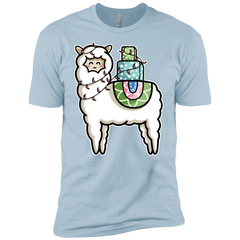 T-Shirts Light Blue / YXS Kawaii Cute Llama Carrying Presents Boys Premium T-Shirt