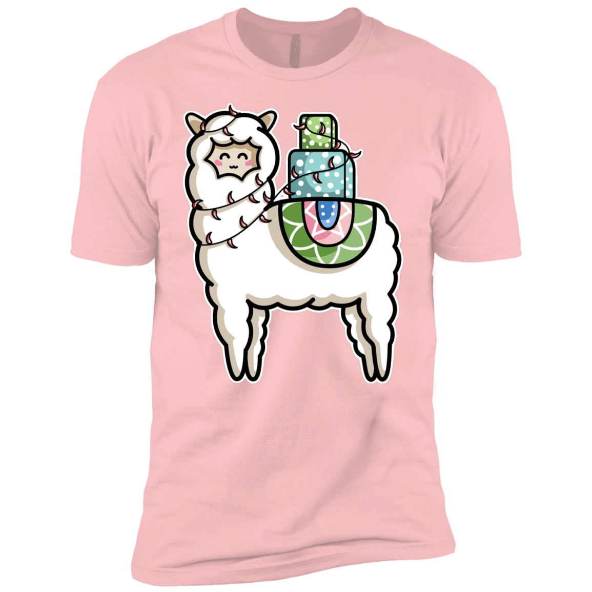 T-Shirts Light Pink / YXS Kawaii Cute Llama Carrying Presents Boys Premium T-Shirt