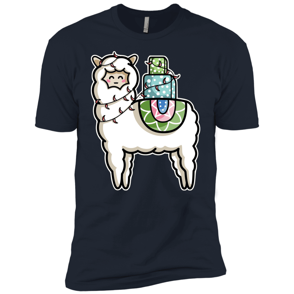 T-Shirts Midnight Navy / YXS Kawaii Cute Llama Carrying Presents Boys Premium T-Shirt