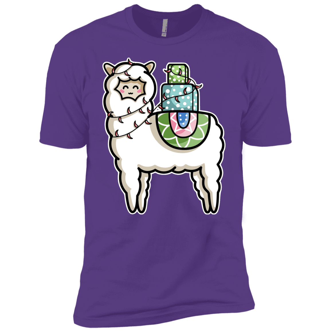 T-Shirts Purple Rush / YXS Kawaii Cute Llama Carrying Presents Boys Premium T-Shirt