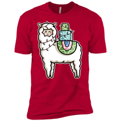 T-Shirts Red / YXS Kawaii Cute Llama Carrying Presents Boys Premium T-Shirt