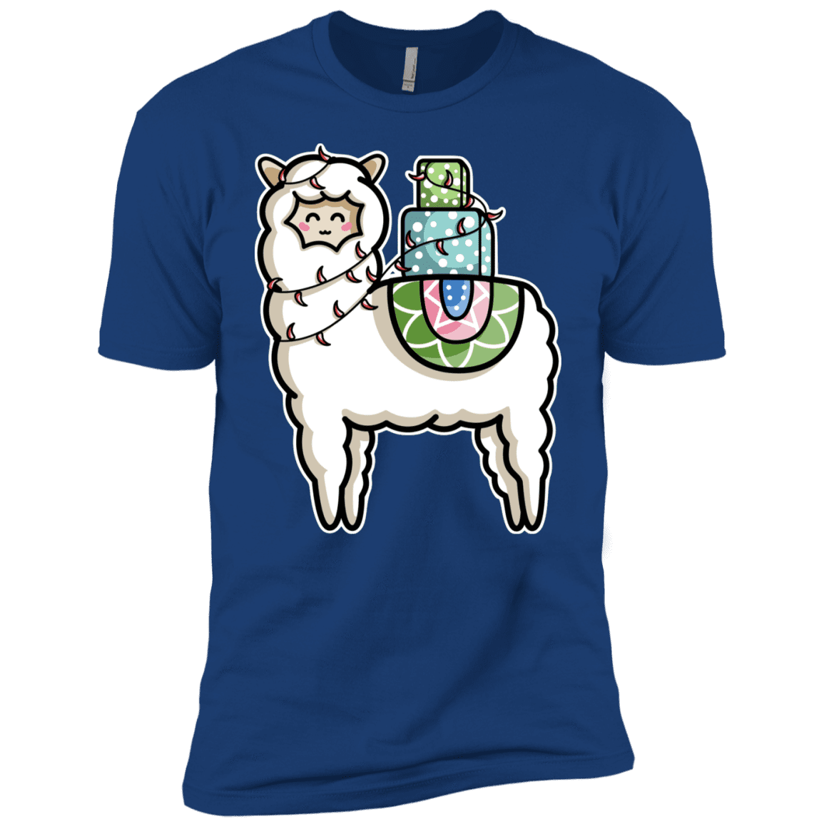 T-Shirts Royal / YXS Kawaii Cute Llama Carrying Presents Boys Premium T-Shirt