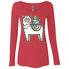T-Shirts Vintage Red / S Kawaii Cute Llama Carrying Presents Women's Triblend Long Sleeve Shirt