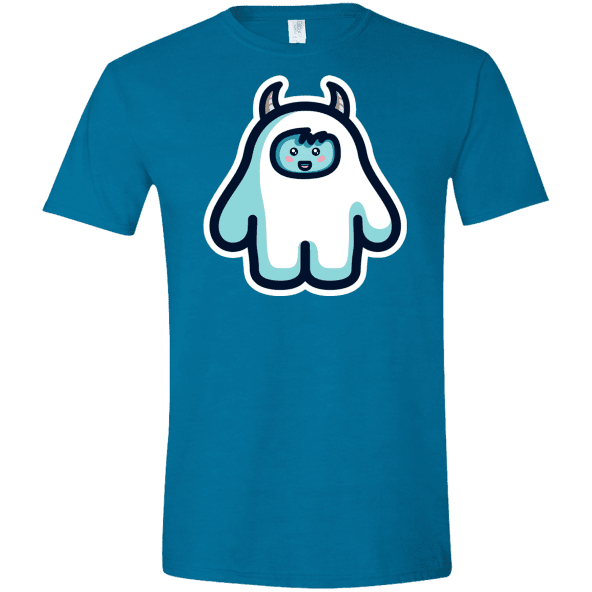 T-Shirts Antique Sapphire / S Kawaii Cute Yeti Men's Semi-Fitted Softstyle