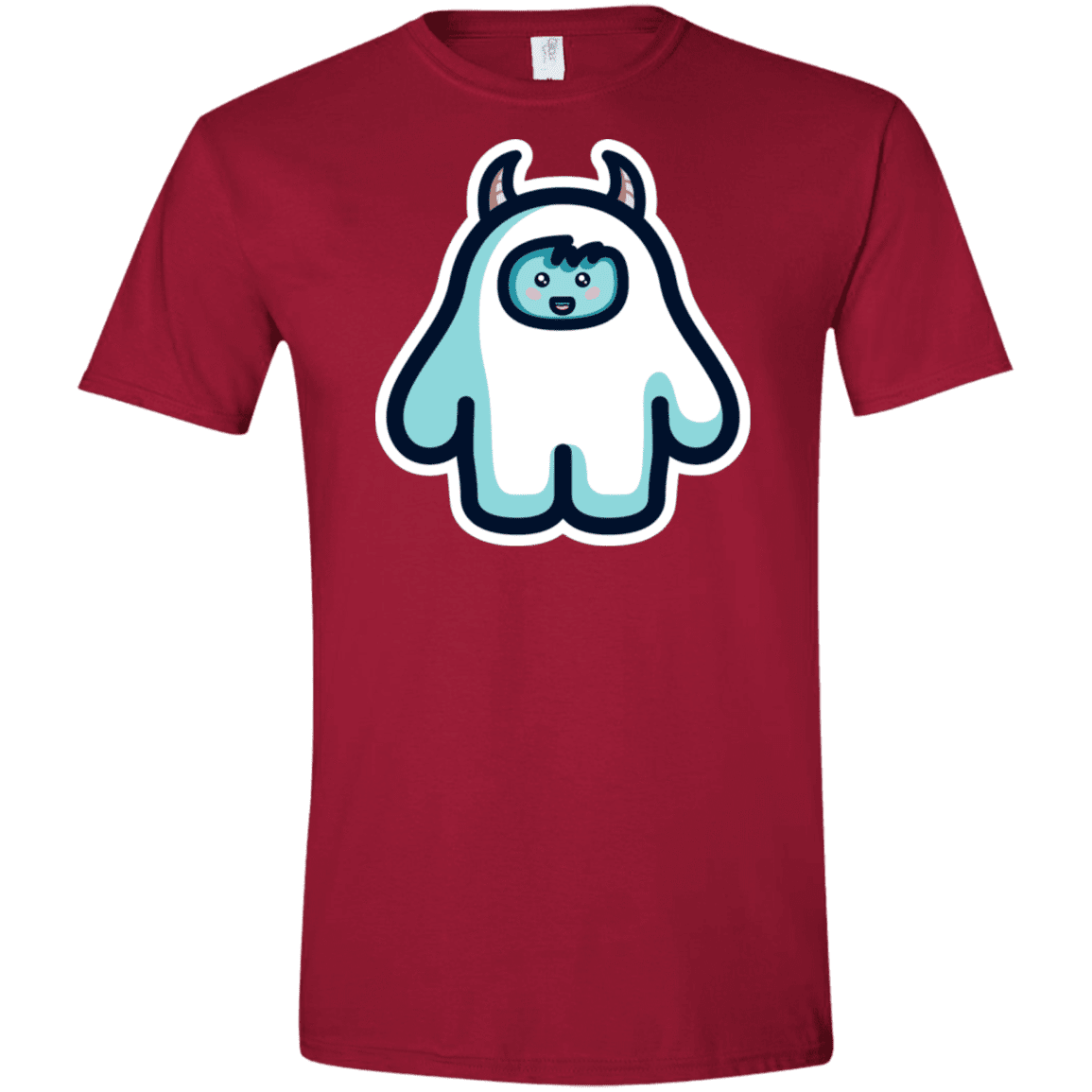 T-Shirts Cardinal Red / S Kawaii Cute Yeti Men's Semi-Fitted Softstyle