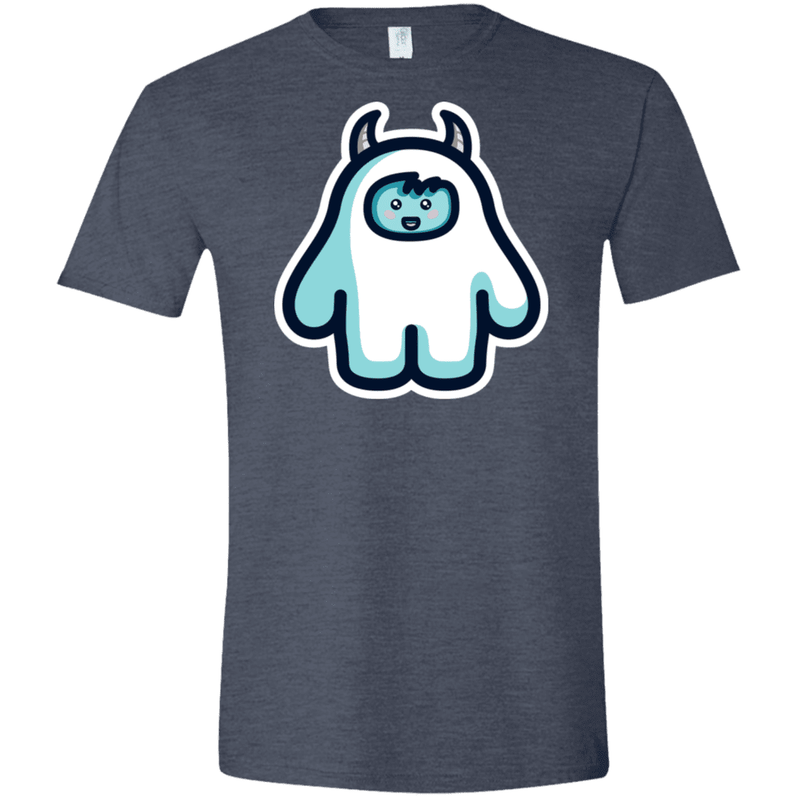 T-Shirts Heather Navy / S Kawaii Cute Yeti Men's Semi-Fitted Softstyle