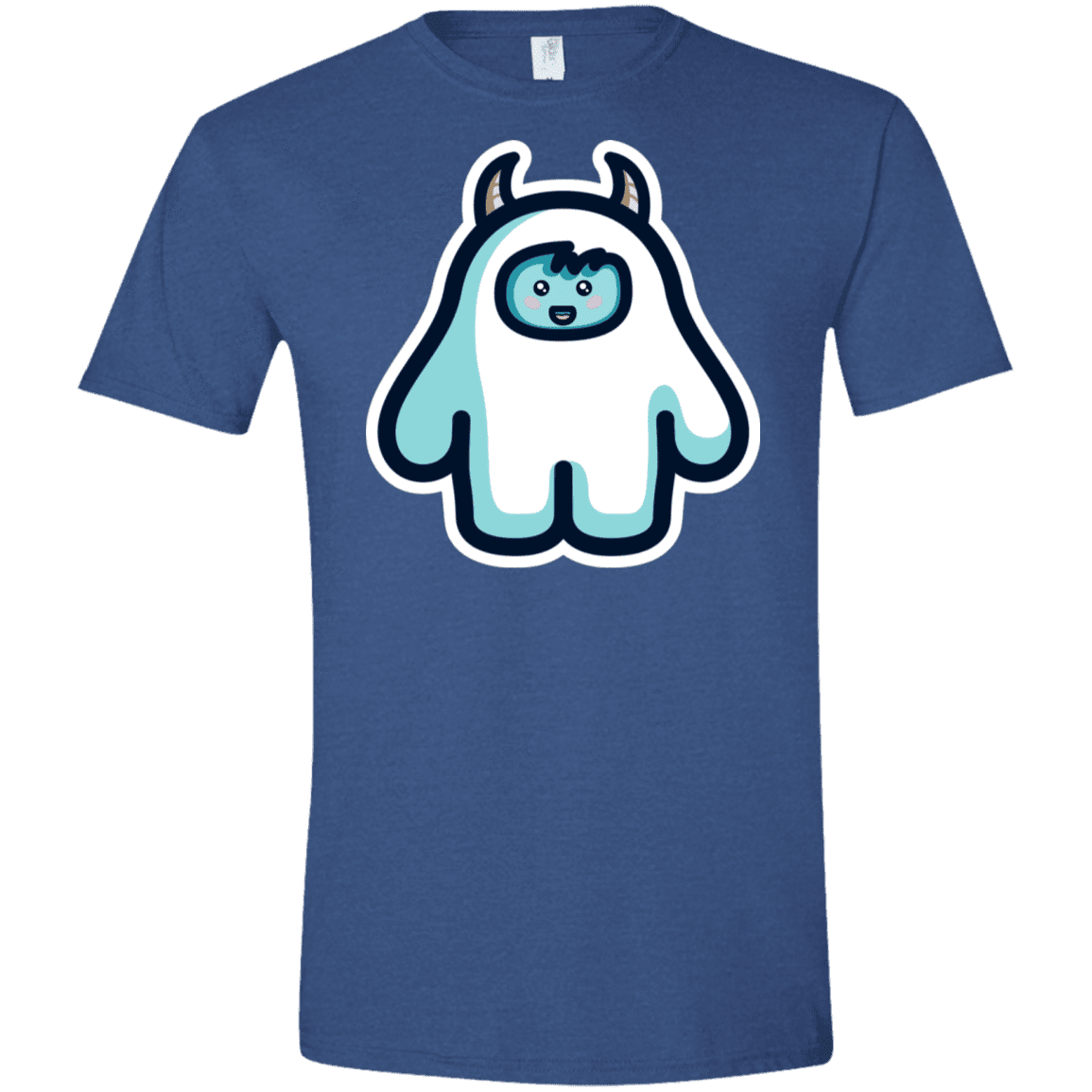 T-Shirts Heather Royal / X-Small Kawaii Cute Yeti Men's Semi-Fitted Softstyle