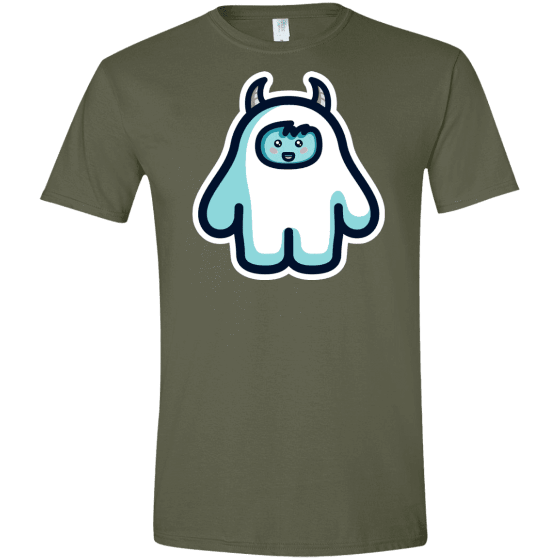 T-Shirts Military Green / S Kawaii Cute Yeti Men's Semi-Fitted Softstyle