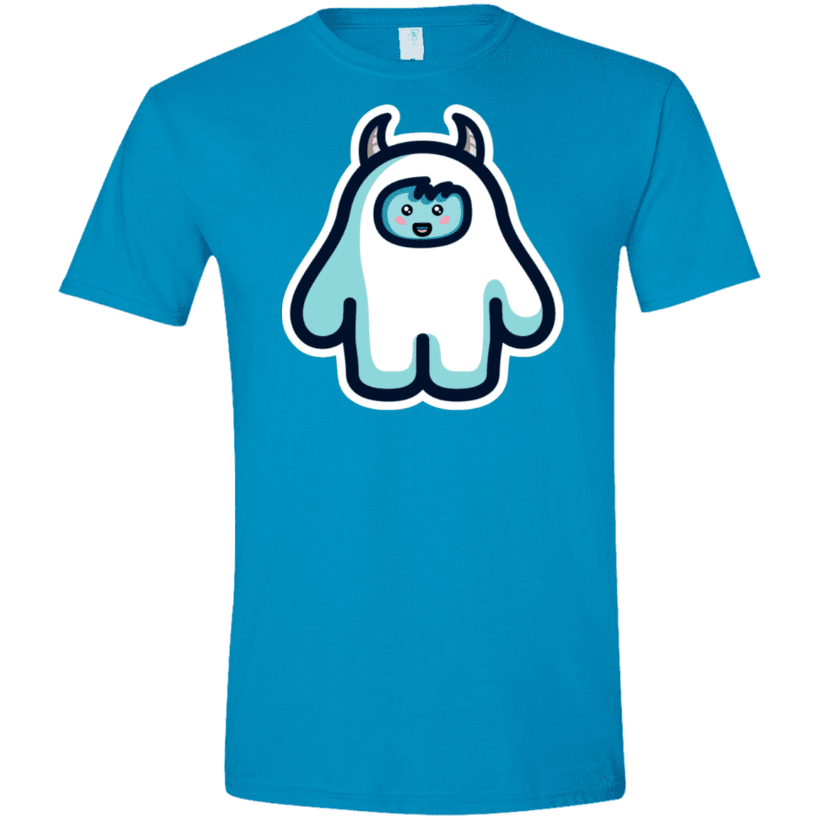 T-Shirts Sapphire / S Kawaii Cute Yeti Men's Semi-Fitted Softstyle