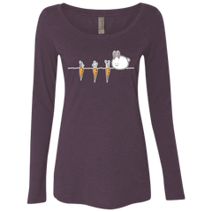 Kawaii Rabbit and Carrots Women's Triblend Long Sleeve Shirt
