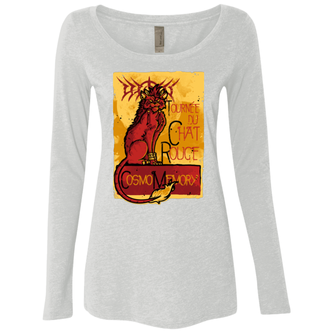 T-Shirts Heather White / Small LE CHAT ROUGE Women's Triblend Long Sleeve Shirt