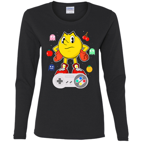 T-Shirts Black / S Lever Pac-Man Women's Long Sleeve T-Shirt