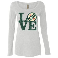 T-Shirts Heather White / Small LOVE Boba Women's Triblend Long Sleeve Shirt