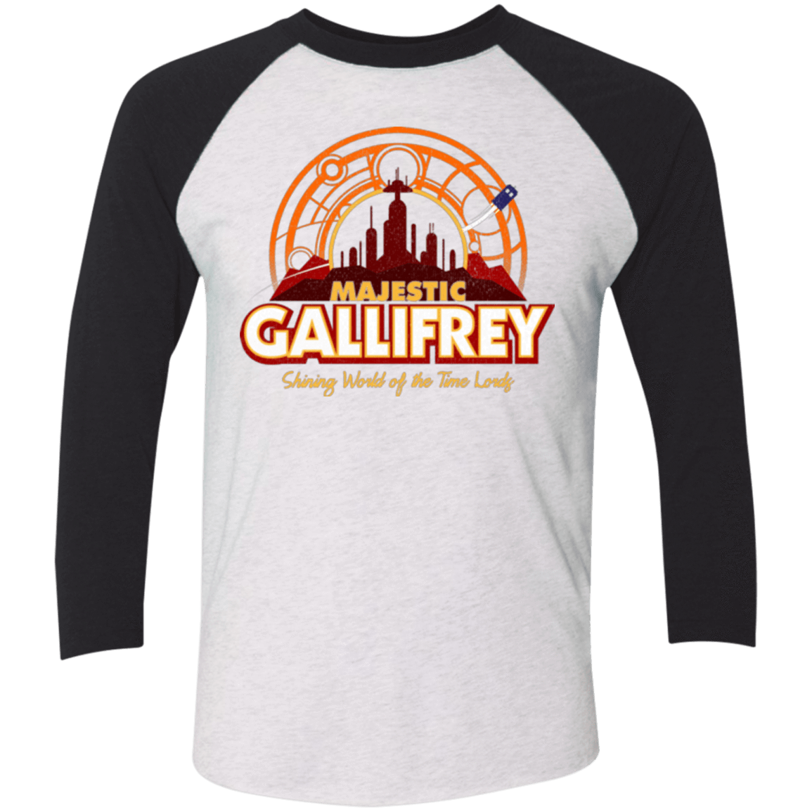 T-Shirts Heather White/Vintage Black / X-Small Majestic Gallifrey Triblend 3/4 Sleeve