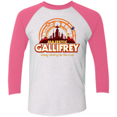 T-Shirts Heather White/Vintage Pink / X-Small Majestic Gallifrey Triblend 3/4 Sleeve