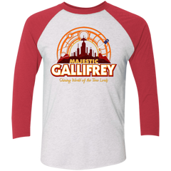 T-Shirts Heather White/Vintage Red / X-Small Majestic Gallifrey Triblend 3/4 Sleeve