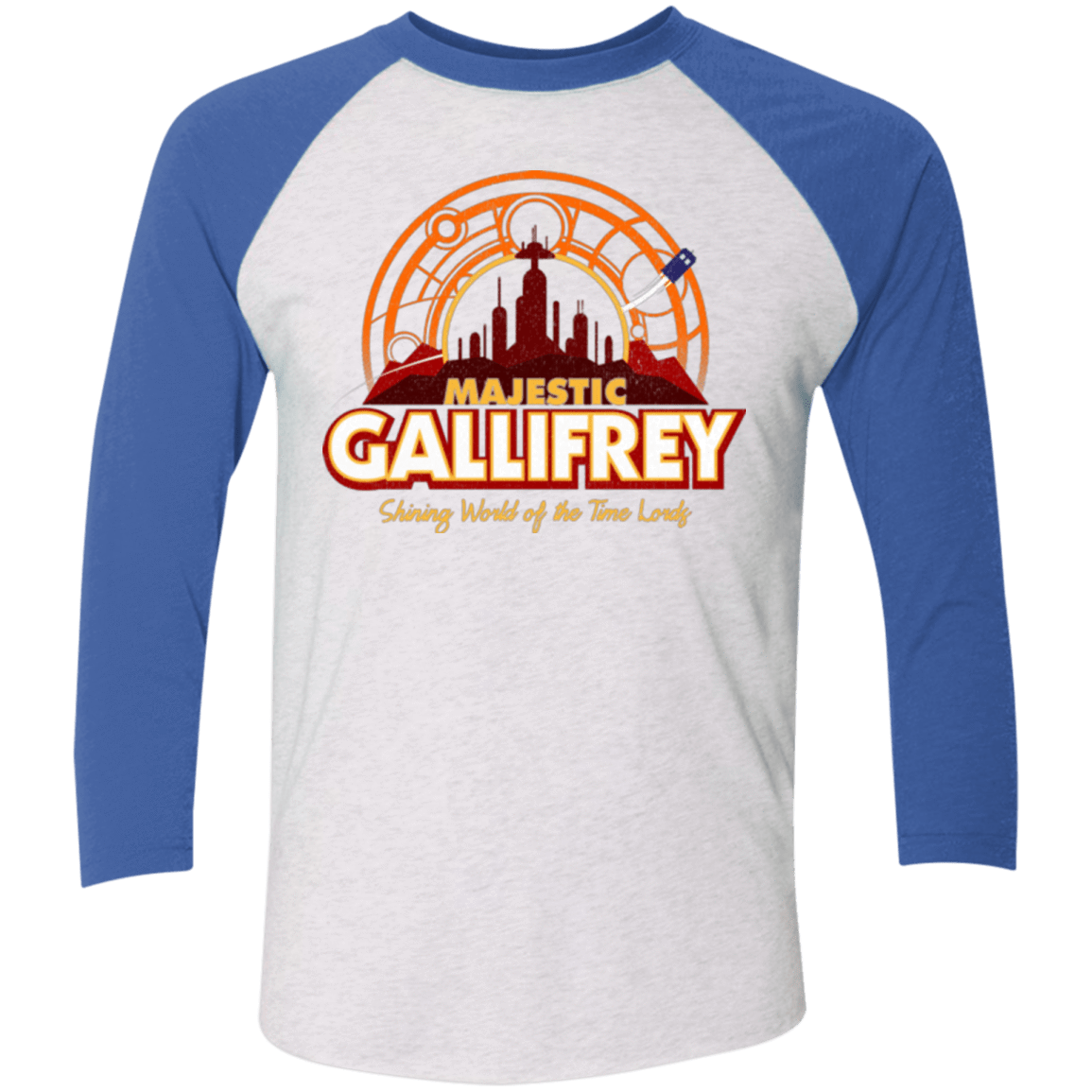 T-Shirts Heather White/Vintage Royal / X-Small Majestic Gallifrey Triblend 3/4 Sleeve