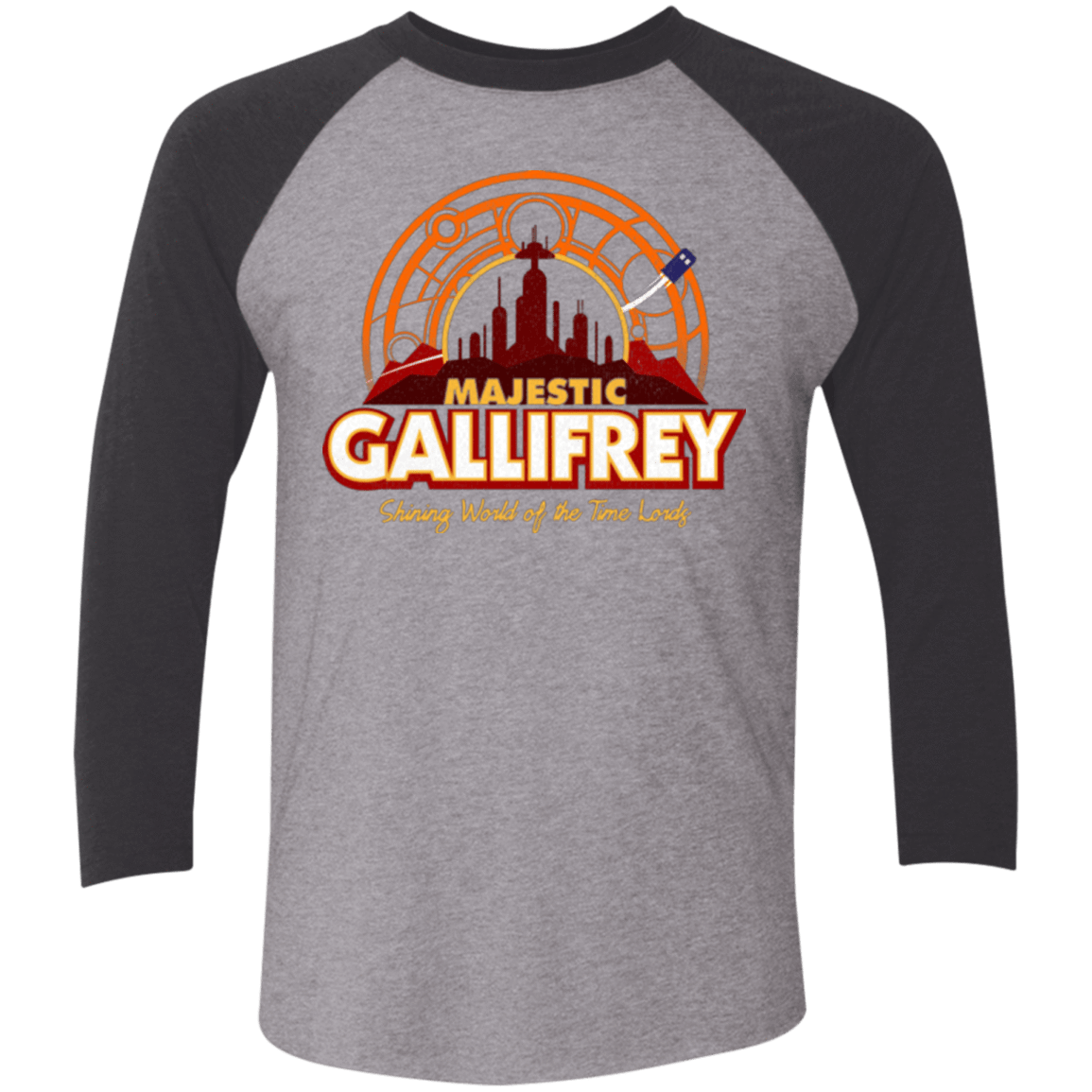 T-Shirts Premium Heather/ Vintage Black / X-Small Majestic Gallifrey Triblend 3/4 Sleeve