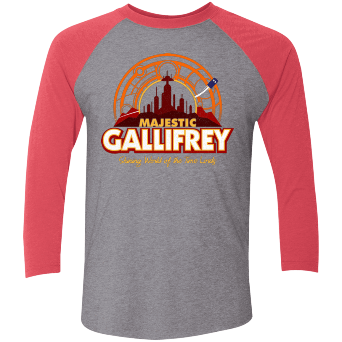 T-Shirts Premium Heather/ Vintage Red / X-Small Majestic Gallifrey Triblend 3/4 Sleeve