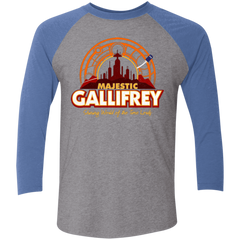 T-Shirts Premium Heather/ Vintage Royal / X-Small Majestic Gallifrey Triblend 3/4 Sleeve