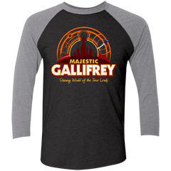 T-Shirts Vintage Black/Premium Heather / X-Small Majestic Gallifrey Triblend 3/4 Sleeve
