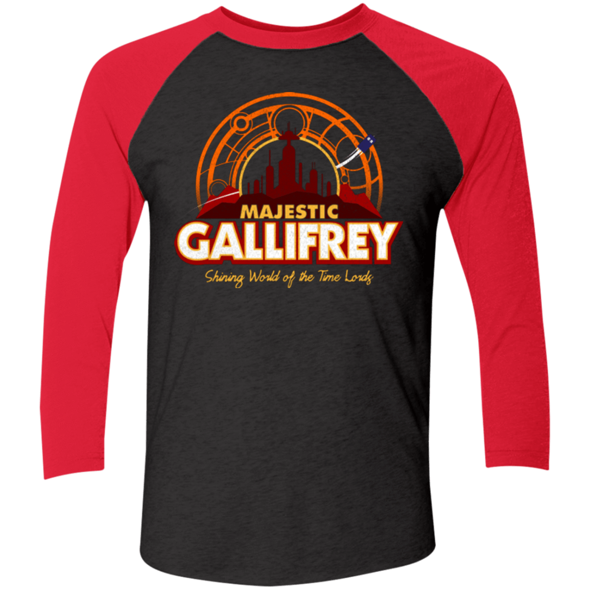 T-Shirts Vintage Black/Vintage Red / X-Small Majestic Gallifrey Triblend 3/4 Sleeve
