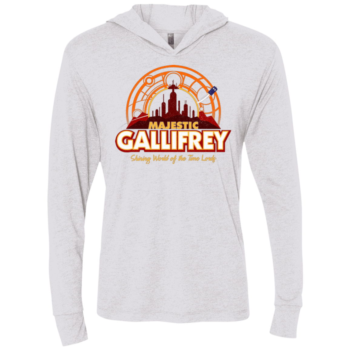 T-Shirts Heather White / X-Small Majestic Gallifrey Triblend Long Sleeve Hoodie Tee