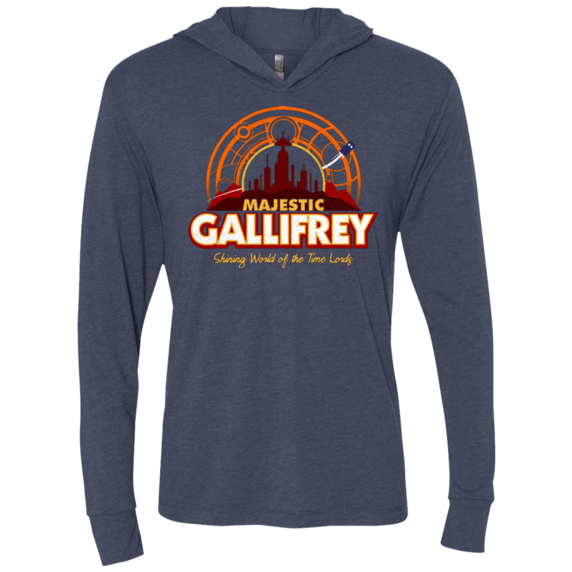 T-Shirts Vintage Navy / X-Small Majestic Gallifrey Triblend Long Sleeve Hoodie Tee