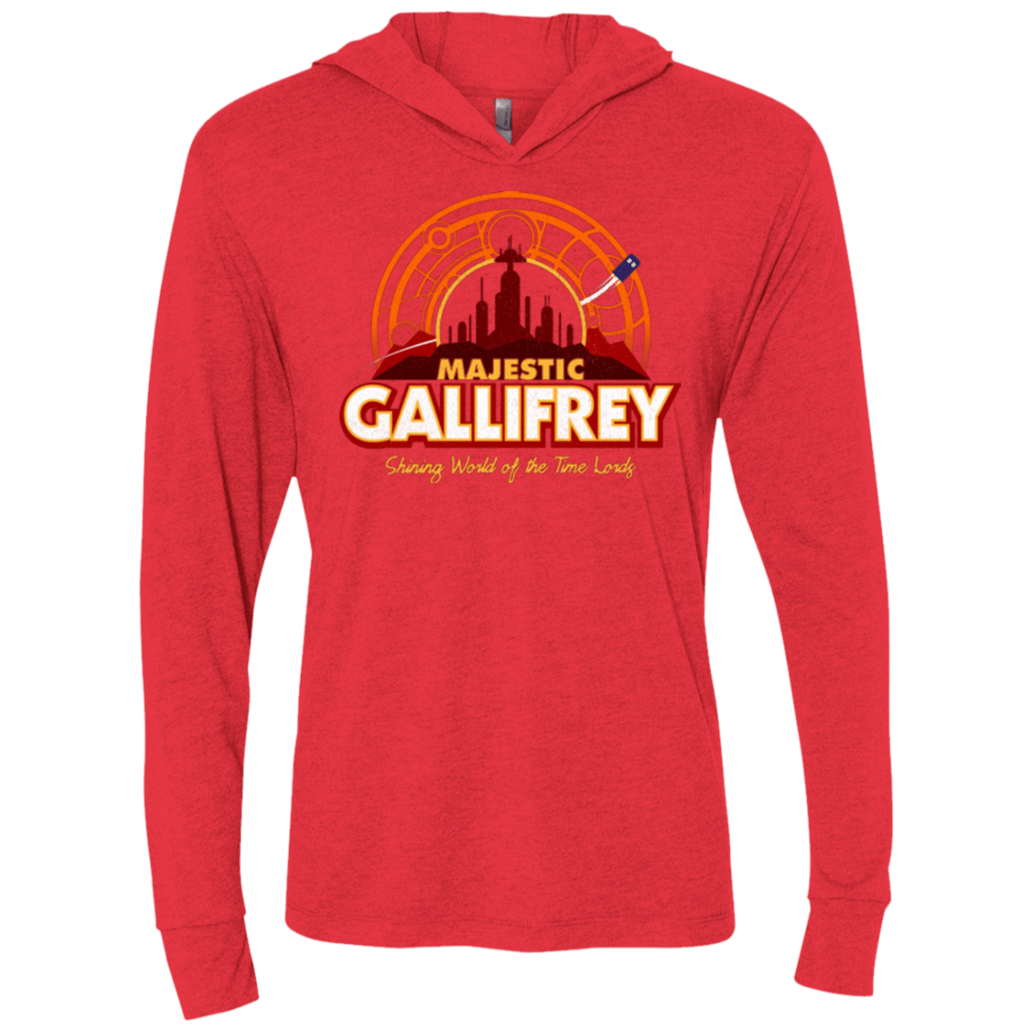 T-Shirts Vintage Red / X-Small Majestic Gallifrey Triblend Long Sleeve Hoodie Tee
