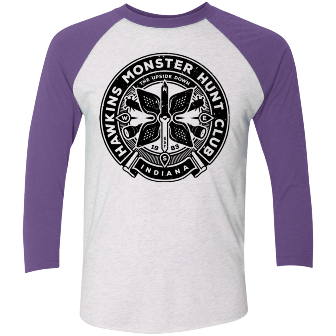T-Shirts Heather White/Purple Rush / X-Small Monster Hunt Club Men's Triblend 3/4 Sleeve