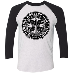 T-Shirts Heather White/Vintage Black / X-Small Monster Hunt Club Men's Triblend 3/4 Sleeve