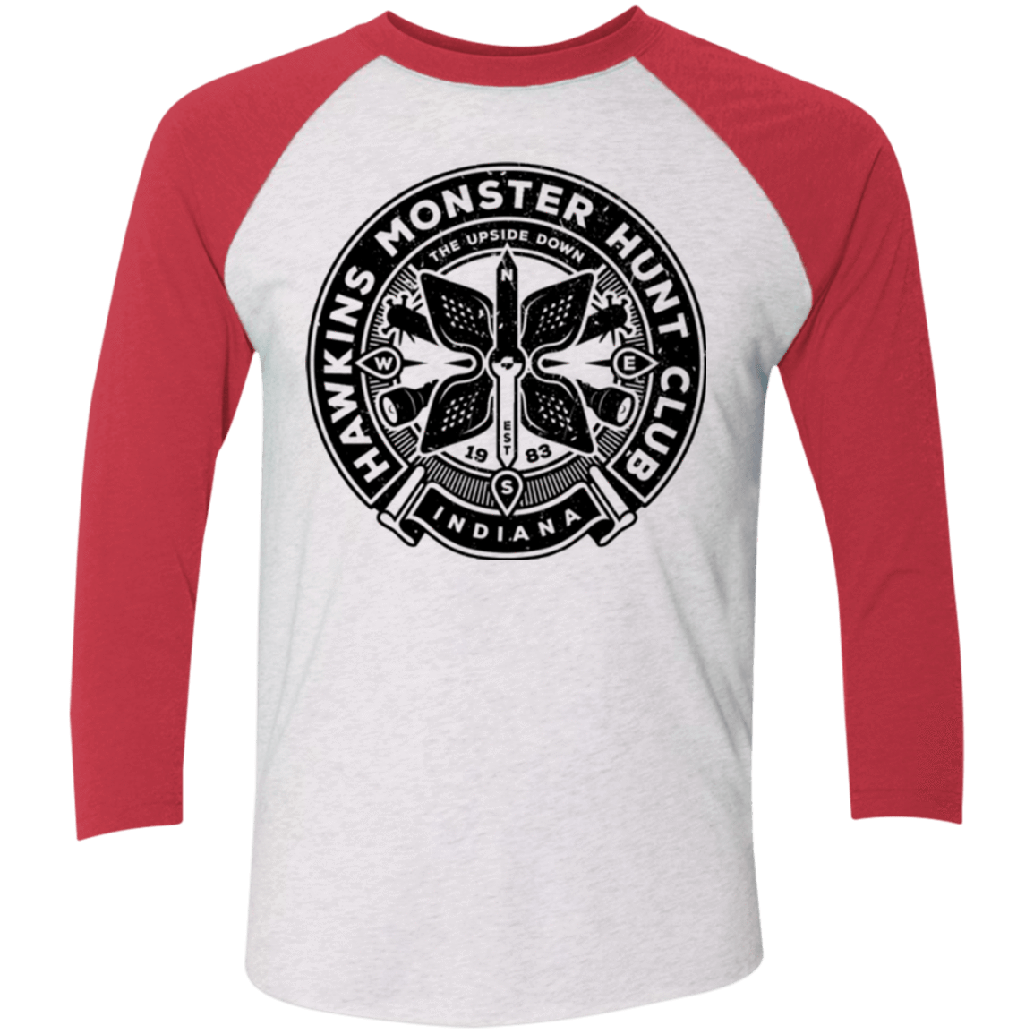 T-Shirts Heather White/Vintage Red / X-Small Monster Hunt Club Men's Triblend 3/4 Sleeve