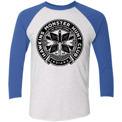 T-Shirts Heather White/Vintage Royal / X-Small Monster Hunt Club Men's Triblend 3/4 Sleeve