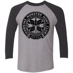 T-Shirts Premium Heather/ Vintage Black / X-Small Monster Hunt Club Men's Triblend 3/4 Sleeve