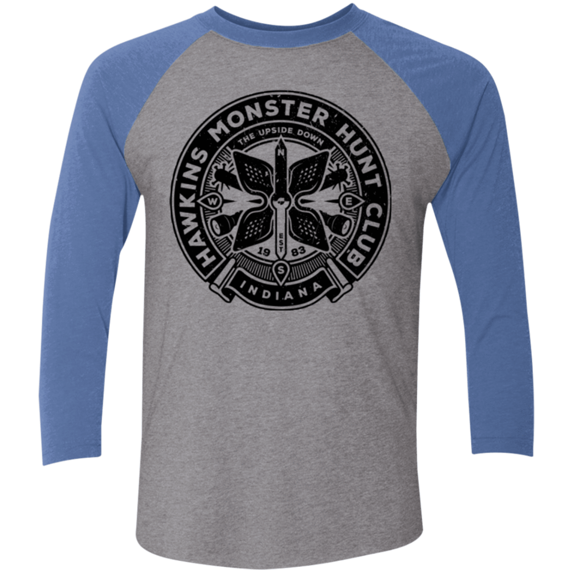 T-Shirts Premium Heather/ Vintage Royal / X-Small Monster Hunt Club Men's Triblend 3/4 Sleeve