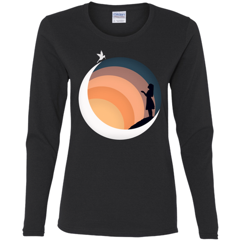 T-Shirts Black / S Moon Women's Long Sleeve T-Shirt