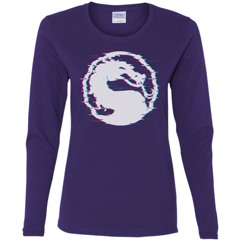 T-Shirts Purple / S Mortal Glitch Women's Long Sleeve T-Shirt