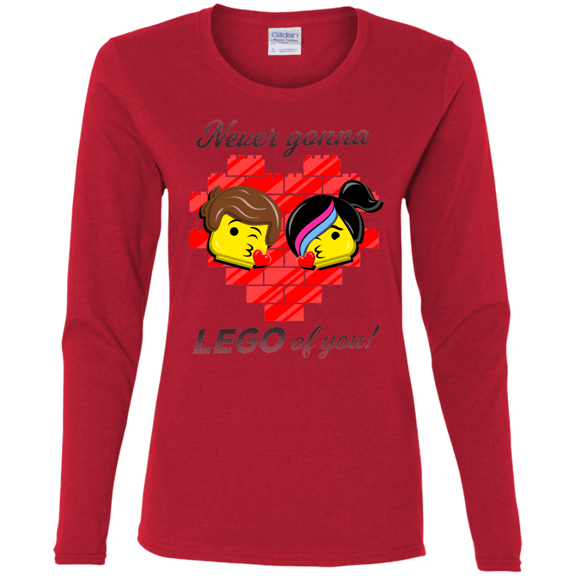 T-Shirts Red / S Never LEGO of You Women's Long Sleeve T-Shirt