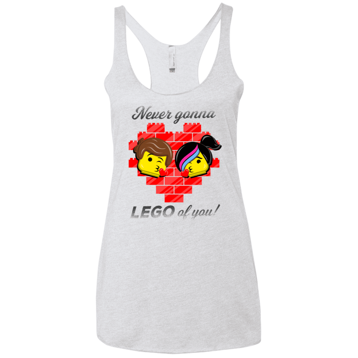 T-Shirts Heather White / X-Small Never LEGO of You Women's Triblend Racerback Tank