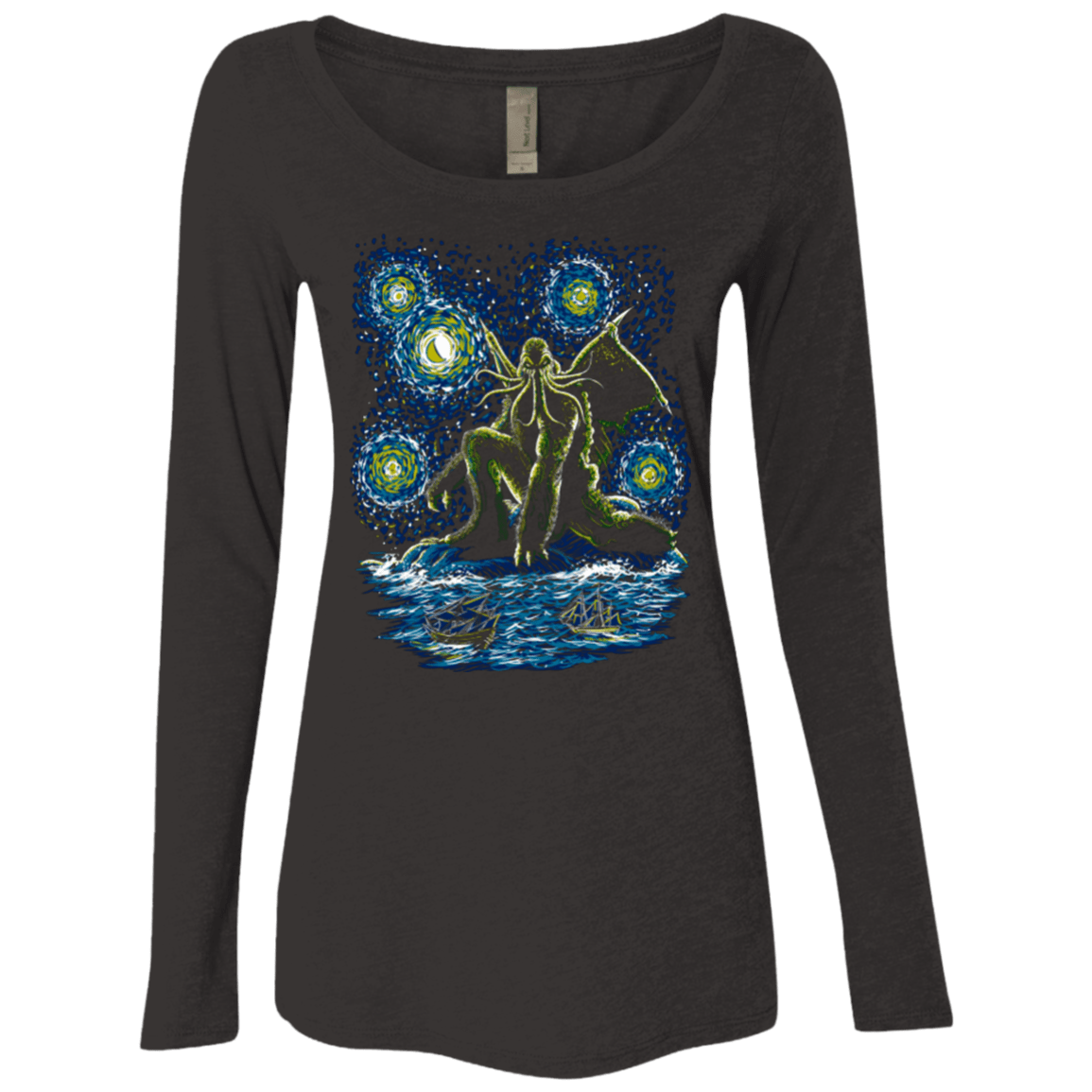 T-Shirts Vintage Black / Small Night of Cthulhu Women's Triblend Long Sleeve Shirt