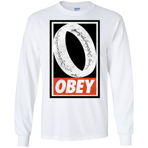 T-Shirts White / S Obey One Ring Men's Long Sleeve T-Shirt