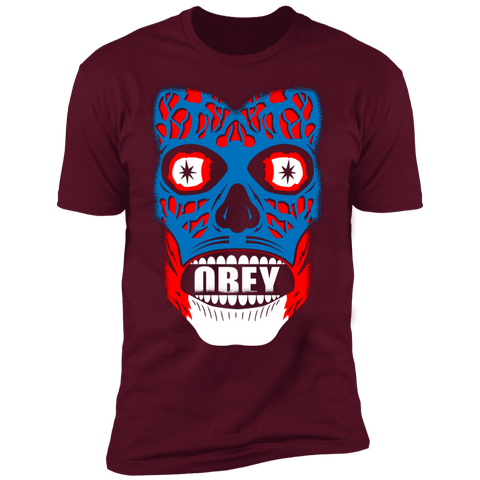 T-Shirts Maroon / S Obey They Live Men's Premium T-Shirt