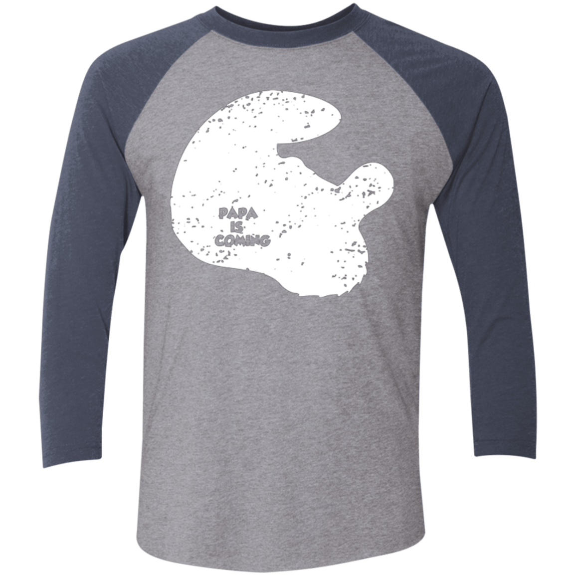T-Shirts Premium Heather/ Vintage Navy / X-Small Papa Is Coming Men's Triblend 3/4 Sleeve