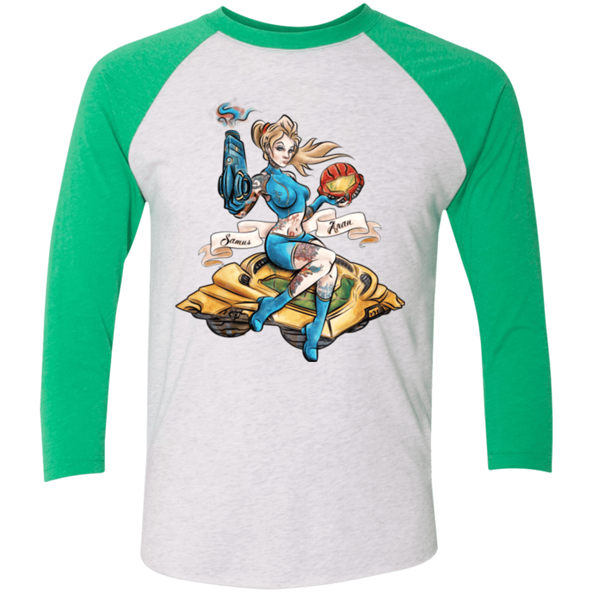 T-Shirts Heather White/Envy / X-Small PINUP SAMUS Triblend 3/4 Sleeve