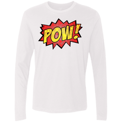 T-Shirts White / Small pow Men's Premium Long Sleeve