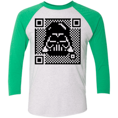 T-Shirts Heather White/Envy / X-Small QR vader Men's Triblend 3/4 Sleeve